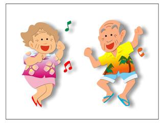 ダンスするおじいさん-おばあさん