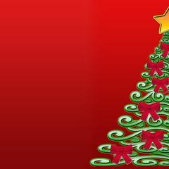 christmas trees on a red background.