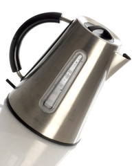 electric tea kettle with reflection on white background