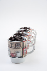 Coffee Mugs with Beans