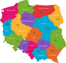 Vector color map of administrative divisions of Poland