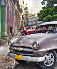 Garden Poster Cars from Cuba Havana scene with Old car