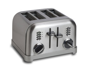 Stainless steel toaster with clipping path