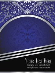 Royal Blue Background with Ornate Silver Leaf