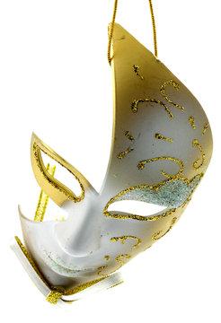 masque carnaval suspendu fond blanc