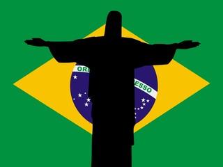 silhouette of Rio de Janeiro on Brazil flag background