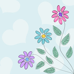 Valentine's day card with drawn like flowers