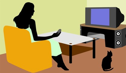 Illustration of silhouette of a lady watching TV