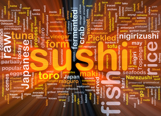 Sushi food background concept glowing