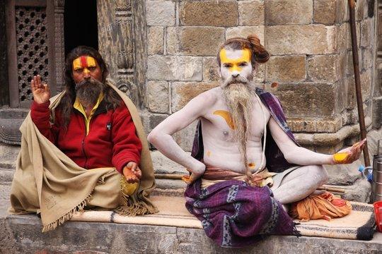 portrait de babas sadhu à Katmandou