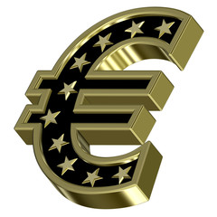 Gold-black Euro sign with stars isolated on white.