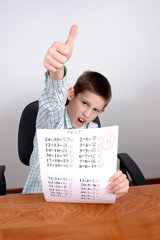 boy gets A grade