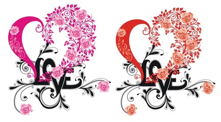 the word 'Love' and hearts isolated on white