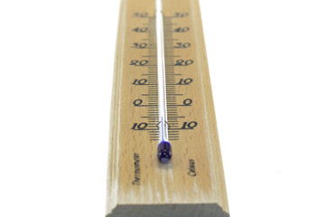 thermometer with temperature below zero