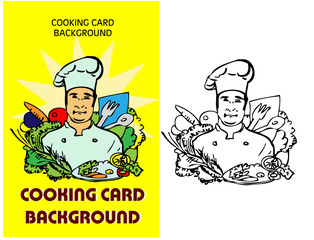 chef icon, cooking fake paper card, background