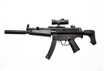 An assault gun with scope and flash suppressor