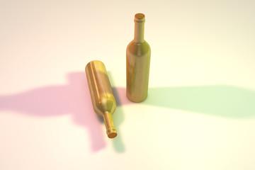 Weinflaschen aus gold mit schatten