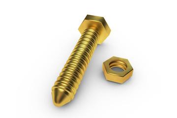 Schraube aus gold mit mutter