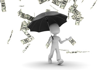 3d man with umbrella walking in the money rain