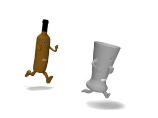 pursues a glass bottle