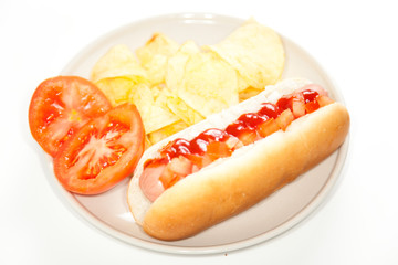 asty hot dog isolated over white