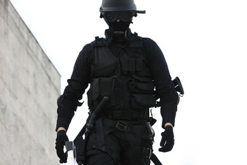 SWAT officer in full tactical gear