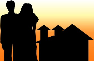 Illustration of silhouettes of house and a couple