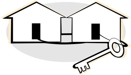 Illustration of a key and house
