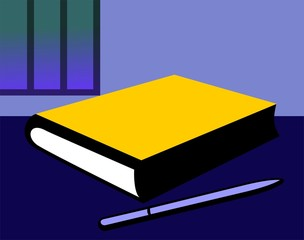 Illustration of a pencil and hard cover book