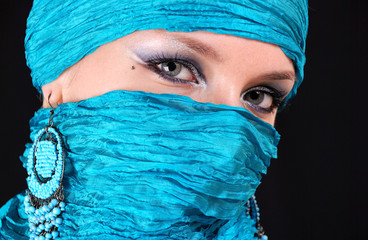 Muslim girl with blue eyes