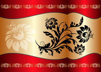floral background in red an gold