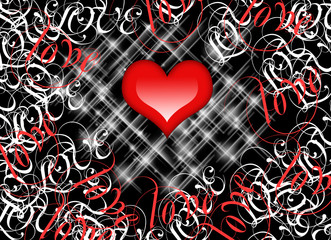Red Love Heart on black background.