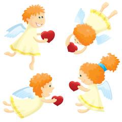 Angels (cupid) set, vector illustration