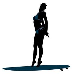 African American Female Surfer Silhouette Illustration