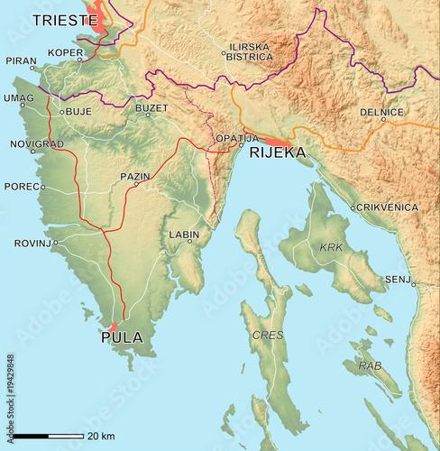 Kroatien Karte Istrien.Istrien Karte Mit Relief Stockfotos Und Lizenzfreie Bilder Auf