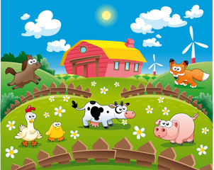 Poster Ranch Farm illustration. Funny cartoon and vector scene.