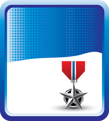 military medal blue checkered background