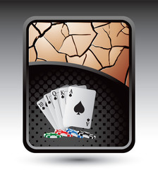 playing cards bronze cracked backdrop