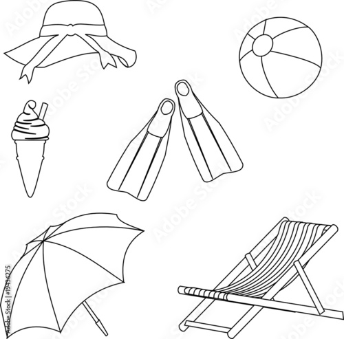 Line Drawing Beach : Quot beach objects line style drawing stock image and royalty