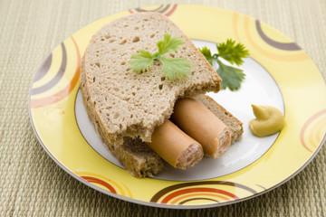 Bockwurst auf Brot