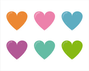 set of 6 colorful hearts icons