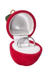 Wedding rings in velvet box isolated on white background