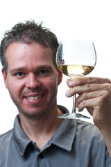 Man holding wine glass, isolated on white