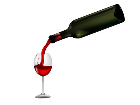 wine glass and wine puring from bottle as Valentine background