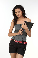 Teenage girl with books