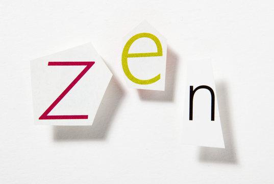 mot zen lettre découpage mot en relief