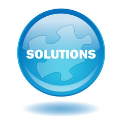 """""""SOLUTIONS"""" round web button (vector - blue - business)"""