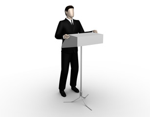 Orator delivers a speech at a tribune