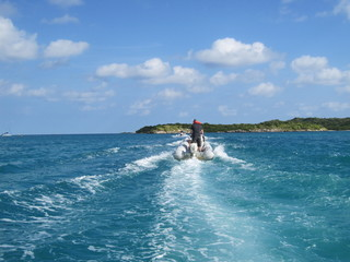 Speed boating in Antigua in the Caribbean