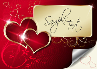 valentines card in red and gold